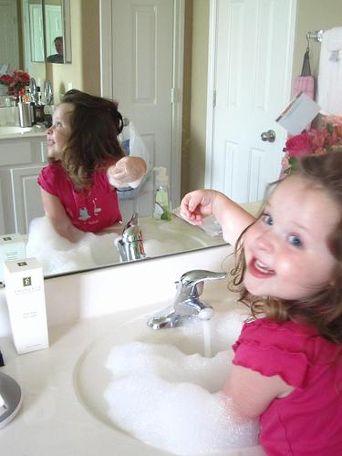 Annabelle makes bubble soup.